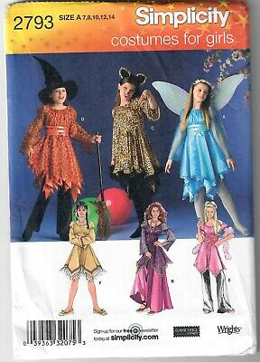 Simplicity 2793 Costumes for Girls Witch Angel Pocahontas Cat Sewing Pattern UC
