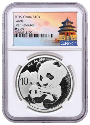 2019 China 30 g Silver Panda ¥10 Coin NGC MS69 FR Temple Label SKU56062