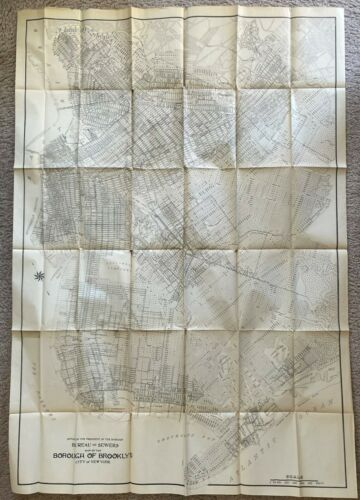 1907 MAP OF BROOKLYN NEW YORK & REPORT OF PRESIDENT OF THE BOROUGH OF BROOKLYN