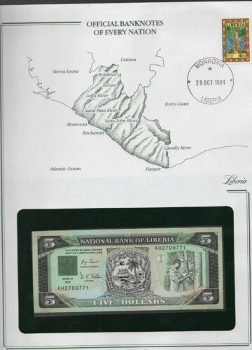 Banknotes of Every Nation Liberia 1991 5 Dollars UNC P 20 Prefix AH