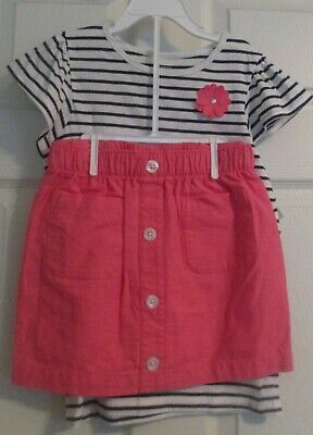 NWT 3 piece Carters girls size 8 pink skirt, top & shorts with flower set