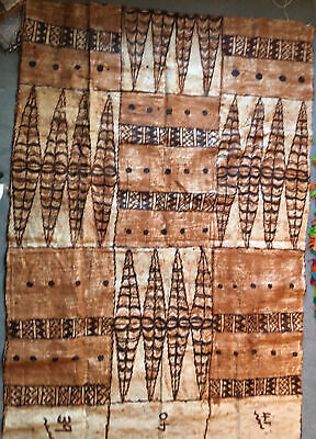 Vintage LARGE Pre-1970s Samoan Tapa Painting Museum Quality Ethnic Pacific Art