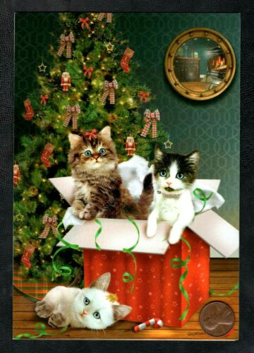 Christmas GIORDANO Kittens Cats Tree Box Present Ornaments Bows - Greeting Card