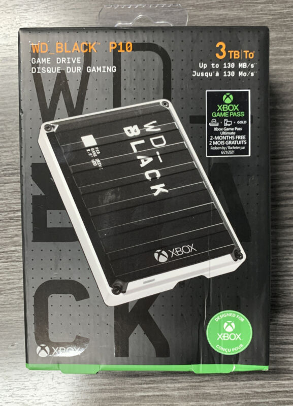 WD Black P10 3TB XBOX EXTERNAL HARD DRIVE USB 3.0 + 2 MONTH ULTIMATE GAME PASS