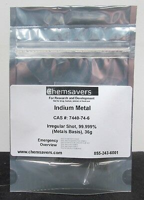 Indium Metal Irregular Shot 99.999 Metals Basis 36g