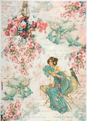 - Rice Paper for Decoupage Scrapbook Craft Sheet Red Green Rose Garden