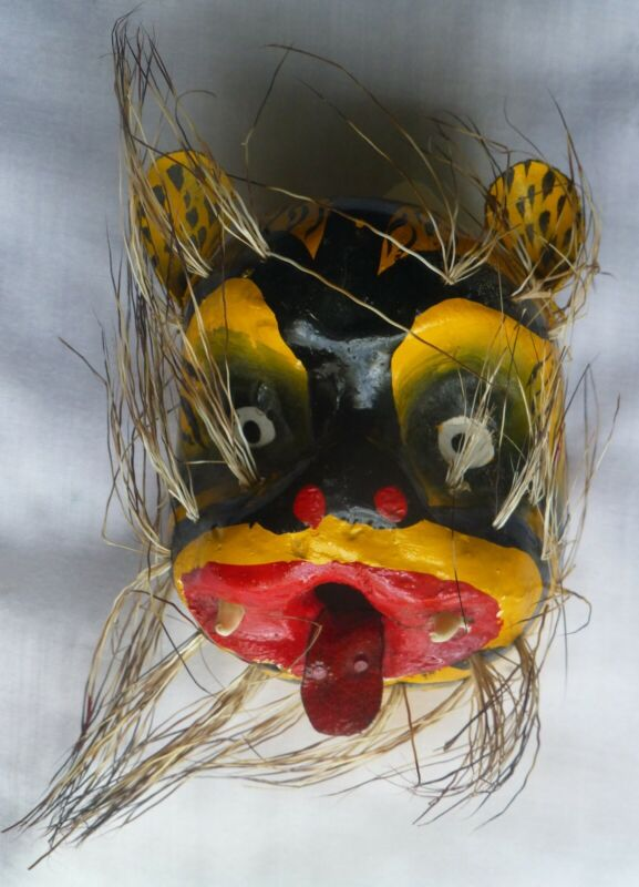 Painted carved wood mask of tiger, Guerrero, Mexico