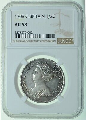 1708 HALFCROWN, SEPTIMO, SLABBED NGC AU58, BRITISH SILVER COIN FROM ANNE