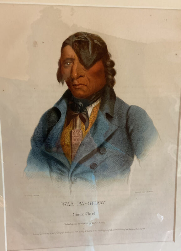 1836 Waa-Pa-Shaw Sioux Chief Lithograph; History Of Indian Tribes North America