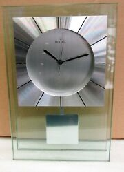BULOVA MANTEL CLOCK - MINERAL GLASS CASE WITH ALUMINUM ACCENTS INSIGHT B2840