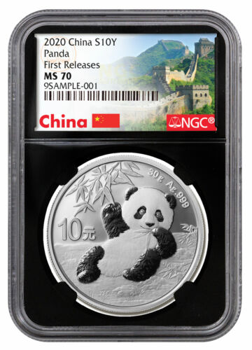 2020 China 30 g Silver Panda ¥10 NGC MS70 FR Black Great Wall PRESALE SKU59837