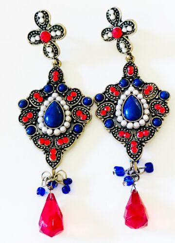 RED WHITE BLUE PEARL EARRINGS SPANISH REVIVAL FRIDA KAHLO MARIE ANTOINETTE