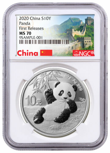 2020 China 30 g Silver Panda ¥10 NGC MS70 FR Great Wall Label SKU59839