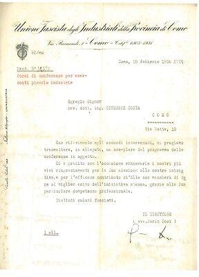 UNIONE FASCISTA DEGLI INDUSTRIALI COMO CORSI CONFERENZE PICCOLE INDUSTRIE 1938