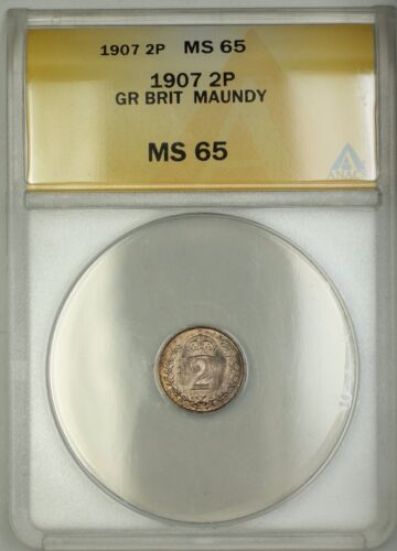 1907 Great Britain King Edward VII Maundy 2P Two Pence Silver Coin ANACS MS-65