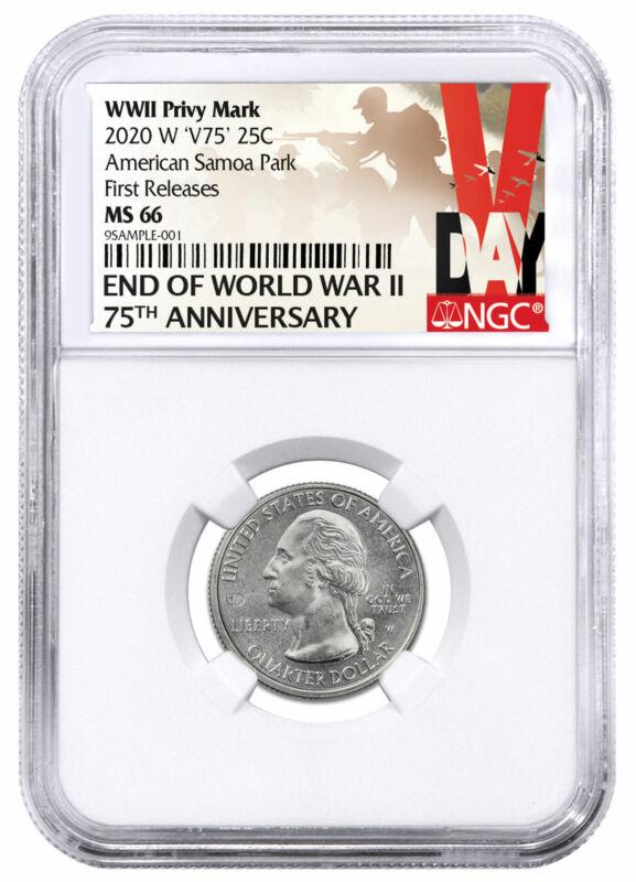 2020 W 25C Clad Samoa NP V75 Privy Beautiful Quarter NGC MS66 FR V-Day Label