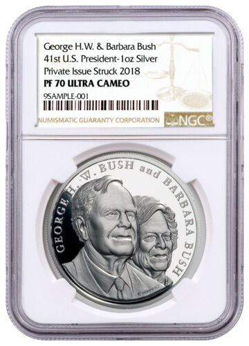 George and Barbara Bush Commemorative 1 oz Silver Medal NGC PF70 UC SKU56873