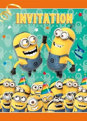 Minion Despicable Me invitation Invite and Thank You Cards 8 Each Party Supply