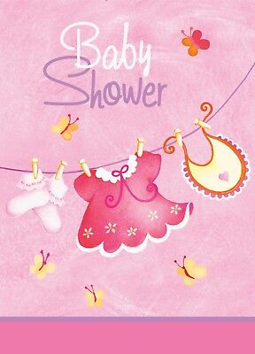 Baby Shower Invitation Invites Girls Pink Clothesline 8 ct Party Supplies (Baby Shower Clothesline)