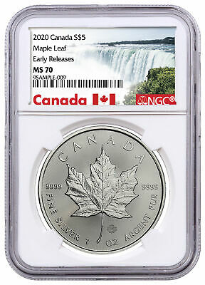 2020 Canada 1 oz Silver Maple Leaf $5 Coin NGC MS70 ER Exclusive Label SKU60001