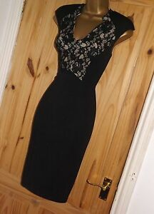 Black nude stretchy lace pencil wiggle galaxy shift evening party dress sz 14 16