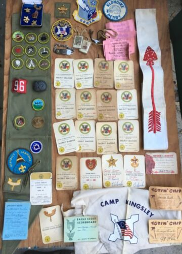 Vintage 1960s Boy Scout Merit Badge Sashes Scarf Patches and Medals