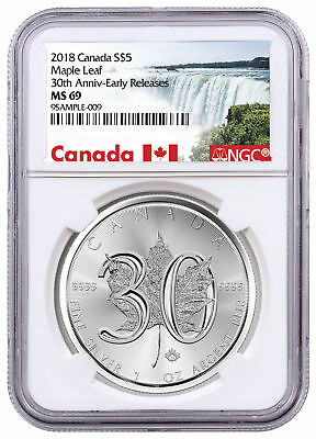 2018 Canada 1 oz Silver Maple Leaf 30th Anniversary $5 Coin NGC MS69 ER SKU52883