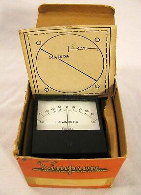 Vintage Simpson Electric Co Gauge Meter Galvanometer In Box Usa