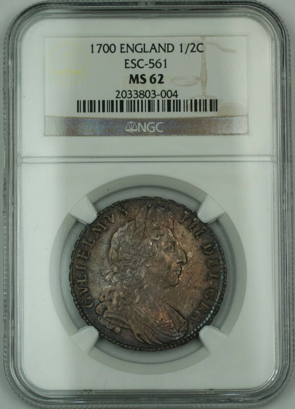 1700 England 1/2c Half Crown Silver Coin Esc-561 William Iii Ngc Ms-62 Akr