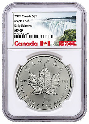 2019 Canada 1 oz Silver Maple Leaf $5 NGC MS69 ER Exclusive Label SKU55712
