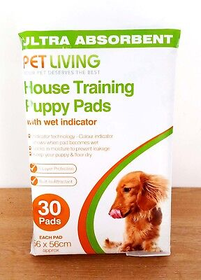 30 X House Training Pads For Puppy Pet Dog Ultra Absorbent With Wet Indicator