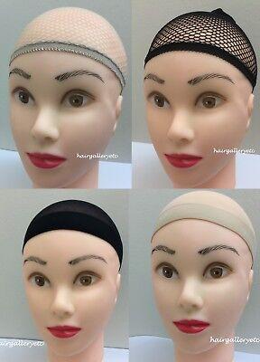 2 pcs Wig mesh caps wig cap stocking cap Neutral Black Quality Nylon Stretch USA