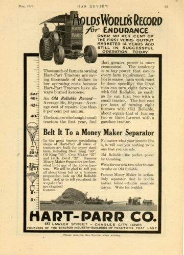 1916 Hart Parr Tractors Ad: Lawler St. Charles City, Iowa