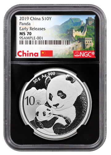 2019 China 30 g Silver Panda ¥10 NGC MS70 ER Black Great Wall SKU56059