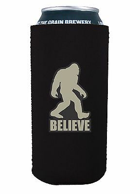 Bigfoot Believe Funny 16 oz Pint Can Coolie, Choice of Color, Pounder, Tall Boy (16 Oz Pint)