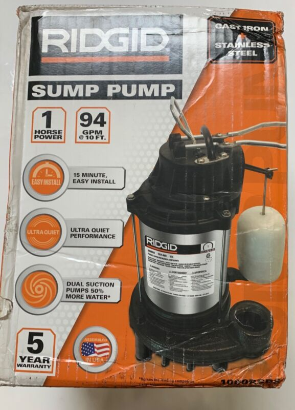 RIDGID 1000RSDS Stainless Steel Dual Suction Sump Pump New Damaged Box