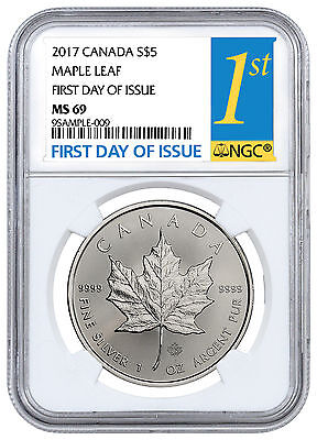 2017 Canada  5 1 Oz  Silver Maple Leaf Ngc Ms69 First Day Of Issue Sku44172