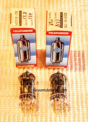 PAIR  Telefunken Elektroakustik FACTORY MATCHED  12AU7 ECC82 Black Diamond NEW