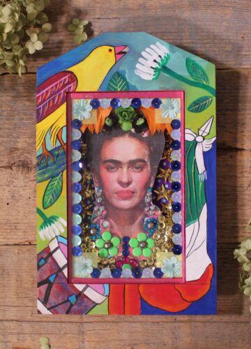 Frida Kahlo with Mexican Flag Drum Handmade Wooden Retablo Hand Painted Folk Art
