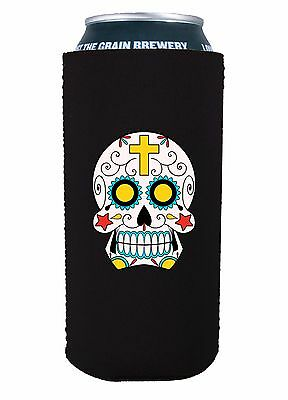 Pint 16 Oz (Sugar Skull 16 oz Pint Can Coolie, Choice of Color, Pounder, Tall)