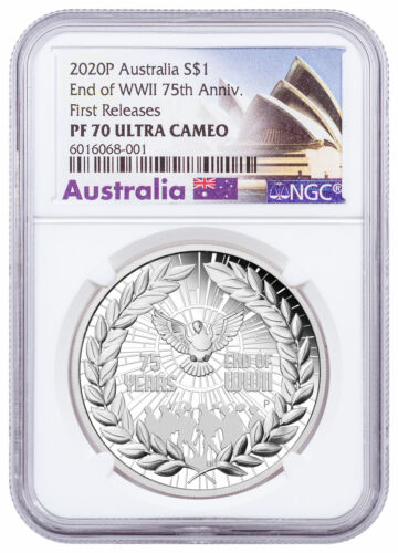 2020 P Australia 75th Anniv of the End of WWII 1 oz Silver NGC PF70 UC FR Opera