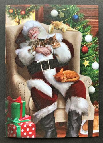 Cat Christmas Card ONE Santa Taking Nap In Chair Orange Brown Tabby Tree Deluxe