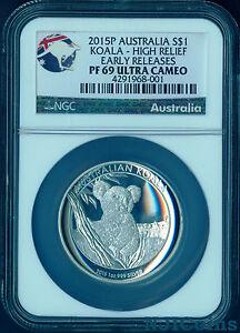 2015 P Australia HIGH RELIEF 1oz Silver Koala $1 Coin NGC PF69 UC ER + COA/BOX