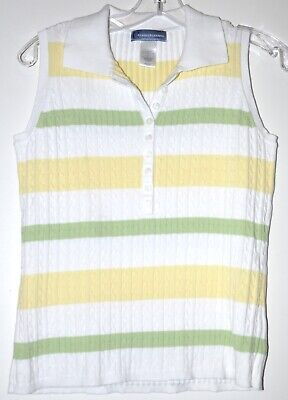 Classic Elements Cable Knit Sleeveless Pastel Polo Sweater Vest Sz Small (Classic Cotton Cable Knit Sweater)