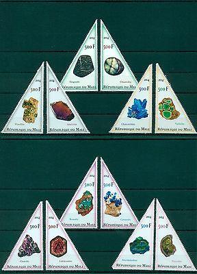 Minerals Mineraux Mineralien Mali 12 MNH triangle stamps set