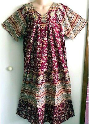 ~NWT~100% COTTON CRANBERRY FLORAL  DRESS  BY METROPOLITAN MFG. SIZE 3X