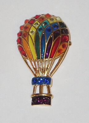 Hot Air Balloon Pin Gold Tone Crystal Accents Rainbow Colors New Purple Basket Crystal Hot Air Balloon