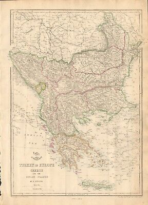 1863  LARGE ANTIQUE MAP - DISPATCH ATLAS- TURKEY IN EUROPE,GREECE,IONIAN ISLANDS