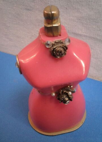 Vintage Pink Dress Form Sewing Tape Measure Pin Cushion Roleff Plastics