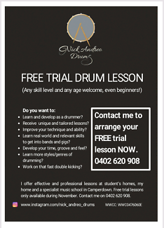 Sydney Drum Lessons - Free Trial Lesson